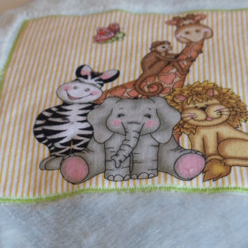 Blue Fleece Baby Throw Blanket Zoo Animals