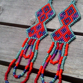 Native American Double Diamond Sioux Pattern in Pastel Turquoise, Red, Orange, and Blues with Purple with Looped Fringe Beaded Earrings