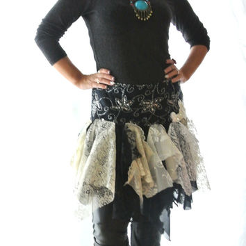 fall skirt, shabby tattered lace mini, bohemian fall wrap, fairy, romantic lagenlook clothes, altered clothing, woodland true rebel clothing