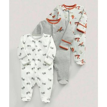 3 Pcs Baby Boys Footed Jumpsuit Cotton Newborn Clothes Long Sleeve Toddler Sleepwear Pajamas Infant Clothing 0-12 Months