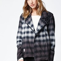 Diamond Supply Co Catskill Flannel Moto Jacket - Womens Jacket - Black - Small