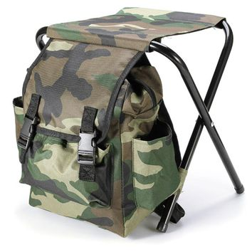 Portable Camouflage Fishing Bags Chair Oxford Cloth Steel Tube Light Weight Outdoor Camping Fishing Backpack Bags with Chairs