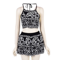 Women Two Pieces Backless Spaghetti Strap Halter Elephant Animal Geometric Aztec Prints Crop Top with High Waist Shorts New
