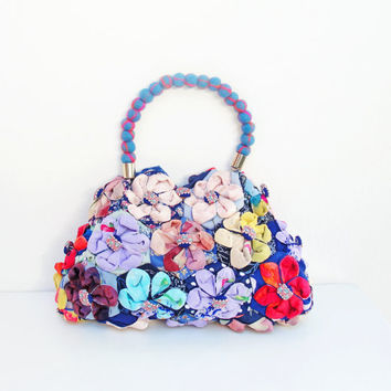 $255.00 Orinuno Bag  Handfolded and Sewn Flowers by StarBags on Etsy