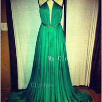 Custom Made A-line Chiffon Long Green Prom Dresses, Green Formal Dress, Dress For Prom, Evening Dresses, Prom Dress 2014