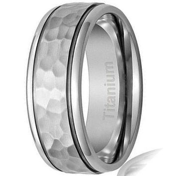 CERTIFIED 8MM Titanium Ring Wedding Band Hammered Finish