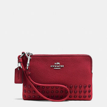 Corner Zip Wristlet in Lacquer Rivets Pebble Leather
