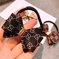 GUCCI Fashion Women Chic Bow-Knot Hair Rope Hair Accessories Black