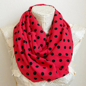 Red Navy Blue Polka Dots infinity Scarf, Women Accessories, Women Gifts Idea