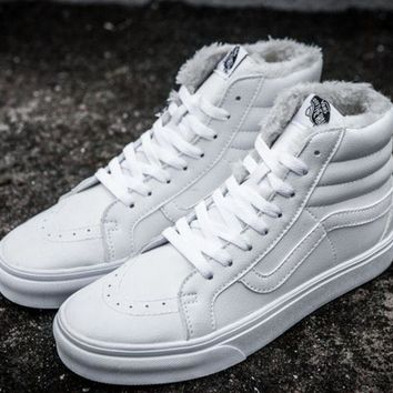 Vans Leather With Fur Warm Casual Shoes White G