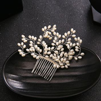 Luxury Simulated Pearl Bride Hair Accessories Silver Leaf Pearl 0c2512f55a7f