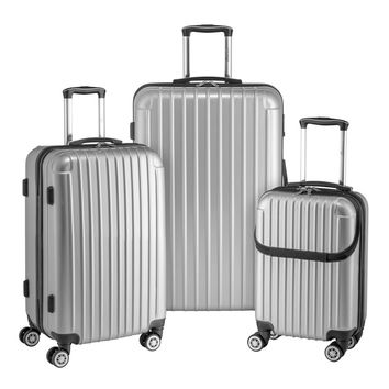 Euro Style Collection Ibiza 3Pcs Luggage Sets Travel Bag ABS Trolley Spinner Suitcase Silver