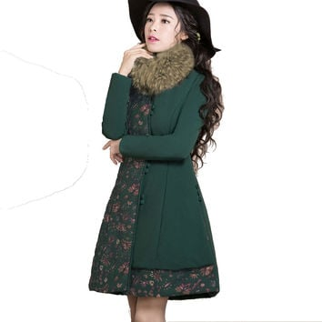 Winter Thick Parkas 2016 Fashion Vintage Printed Fur Collar Outwear Single Breasted Long Sleeve Wadded Jacket Cotton-padded Coat