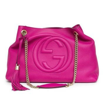 CREYIX5 Gucci Soho Leather Shoulder Bag Pink Bright Bouganvillia Leather Handbag