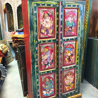 Antique Cabinet Armoire Ganesha Painted Rustic India Furniture
