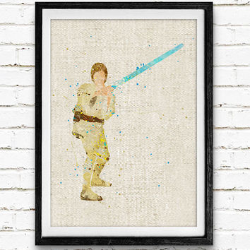 Star Wars Luke Skywalker Watercolor Art Print, Baby Room, Nursery Wall Art, Home Decor, Not Framed, Buy 2 Get 1 Free!