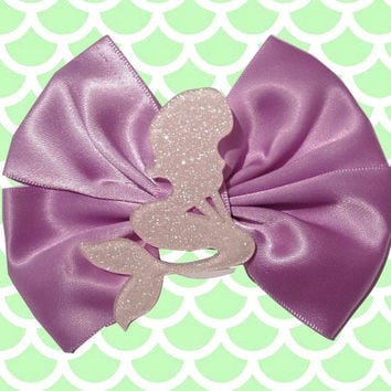 Pastel Pink Glitter Mermaid Hair Bow Hairbow Purple Kawaii Resin Pretty Tumblr Pastel Goth Gothic Fairy Kei Sweet Lolita Soft Pale Grunge