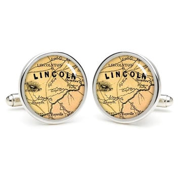 Lincoln  city map cufflinks , wedding gift ideas for groom,gift for dad,great gift ideas for men,groomsmen cufflinks,