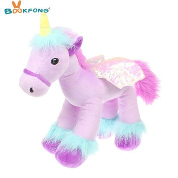 BOOKFONG 35cm Lovely Flying Horse Purple Angel Unicorn Plush Toy Baby Dolls Stuffed Animal Toys for Children Birthday Gift Toys
