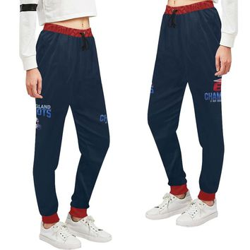 New England Patriots 6x Champs Women's Casual Sweatpants Navy Blue Red Bell Jogger Pants