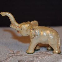 Miniature Cast Metal Pearl Elephant Vintage Mini Trunk Up Elephant Pearl Sheen Lucky Elephant Miniature Collectible Shadowbox Figurine