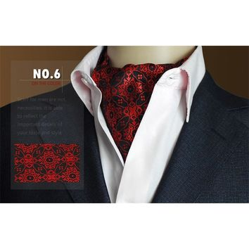 High Grade Men Wedding Formal Cravat Ascot Scrunch Self Ties Gentleman Polyester Silk Scarves Neck Tie Luxury Paisley Pattern