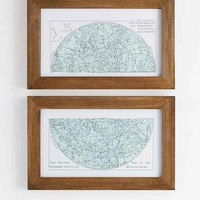 4040 Locust Star Map Framed Wall Art Set- Brown One