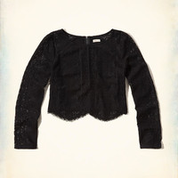 Girls Long-Sleeve Lace Crop Top | Girls Clearance | HollisterCo.com
