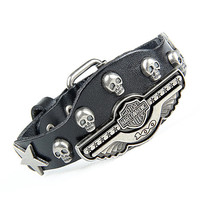 Fashion Punk  Rivets Adjustable Leather Wristband Cuff Bracelet - Great for Men, Women, Teens, Boys, Girls 2706s