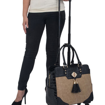 """THE PARISIAN"" Python & Alligator iPad, Tablet & Laptop Spinner Wheel Carryall Bag"