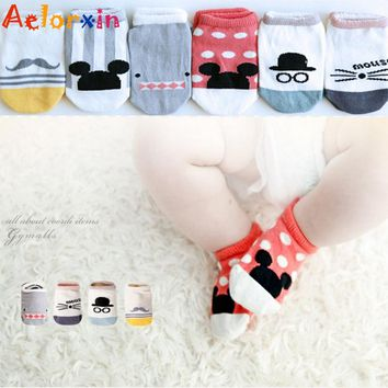 Aelorxin Cotton Boys Girls Socks Newborn Baby Socks Cute Cartoon Animal Floor Children's Socks Kids Leg Warmer Soft Baby Sock