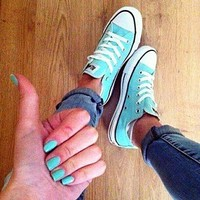 Converse All Star Sneakers canvas shoes for Unisex sports shoes low-top light blue