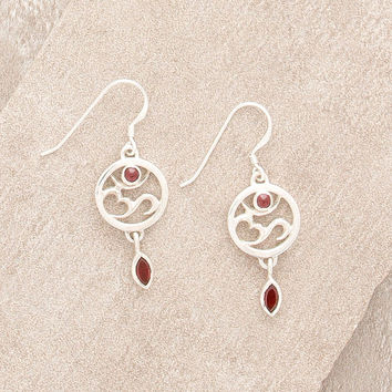 Sterling Silver Om and Red Garnet Earrings