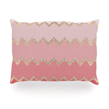 "Monika Strigel ""Avalon Coral Ombre"" Pink Chevron Oblong Pillow"