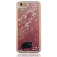 Unique shining sand Lovely black cat Phone Case Cover for Apple iPhone 7 7 Plus 5S 5 SE 6 6S 6 Plus 6S Plus + Nice gift box! LJ160927-005