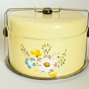 Vintage Tiered Yellow Flower Print Cake Carrier, Stacking Metal Tin Cake Holder Storage Container with Handle