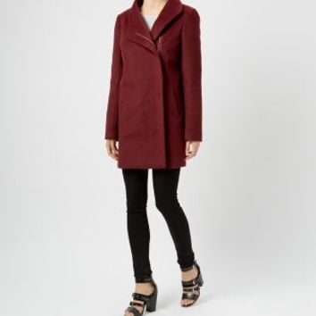 Burgundy Brushed Funnel Coat