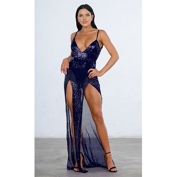 Mystery Girl Blue Semi Sheer Sequin Sleeveless Spaghetti Strap Plunge V Neck Backless Double Slit Maxi Dress