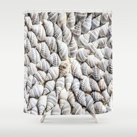 White Seashells Pattern Shower Curtain by PRODUCTPICS