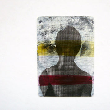 original ACEO silhouette painting  --  altered portrait, yellow & red stripes, mod, mixed media, street art card