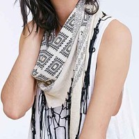 Geo-Fringe Triangle Scarf- Black & White One