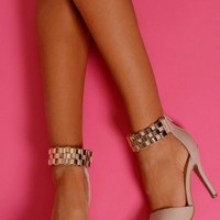 Gorgeous Nude Chain Heels | Pink Boutique