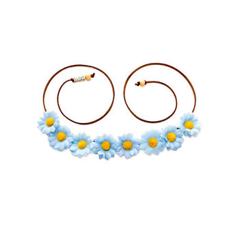Blue Daisy Flower Crown, Flower Headband, Hippie Headband, Coachella, Electric Daisy Carnival, Electric Forest Festival, PLUR, Bonnaroo
