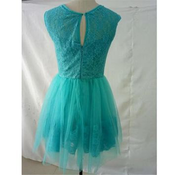 Turquoise Green Short Evening Dress  Formal Dress  Lace Evening Gown Tulle Prom Dress Vestido De Nov