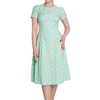 Hell Bunny Plus Retro Mint Green Sweet Office Lady Mod Polka Dot Dress