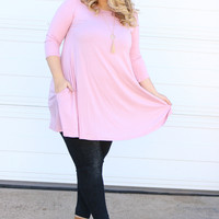 Simple & Sweet Dress with Pockets ~ Dusty Pink ~ Sizes 12-18