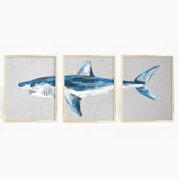 Mako Shark Triptych Wall Art Print