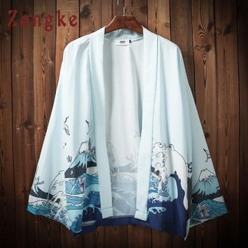 Trendy Zongke Japanese Kimono Cardigan Men Wave Printed Beach Kimono Cardigan Men White Plus Size Long Kimono Jacket Men 2018 Summer AT_94_13
