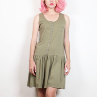 Vintage 1980s Dress Khaki Olive Army Green Sleeveless Mini Dress 80s Drop Waist Tshirt Dress Skater Skirt Sundress T Shirt Tank M Medium L