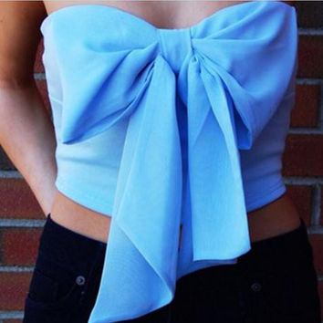 Big bow red and blue sexy wrap chest top